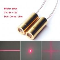 650nm 5mW 3V 5V 12V Dot Cross Line Red Laser Head Industrial Grade Laser Module